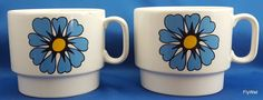 Pagnossin Special Production Coffee Cups Set of 2 White Retro Blue Flowers 12 oz…