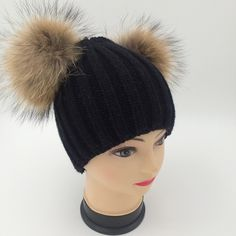 Fashion  Knitted Hat Solid Color Stretch Beanie Hats for Women with Faux Leather Pom Soft Warm Cap