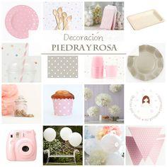 La combinación perfecta para una fiesta de primera comunión para niñas. Gris piedra y rosa, un clásico y elegante.