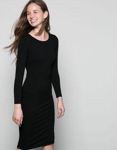 Bershka Portugal - Vestido renda Bershka manga boca-de-sino decote entremeio