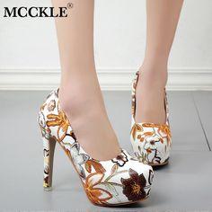 9cb813decc08 MCCKLE Women Sexy High Heels Platform Stiletto Pumps Ladies Floral Printing  Shallow Slip On Pointed Toe