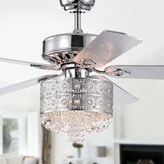 Shop for Silver Orchid Lang Chrome Lighted Ceiling Fan. Get free delivery On EVERYTHING* Overstock - Your Online Ceiling Fans & Accessories Store! Get in rewards with Club O! Ceiling Fan Chandelier, Ceiling Lights, Ceiling Fans, Chandelier Ideas, Ceiling Fan Makeover, Ceiling Fan With Remote, Chrome Finish, Lamp Light, Bulb
