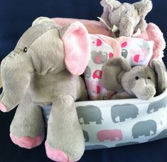 Newborn baby gift basket the big card company baby gift elephant baby girl gift basket by fivebrownmonkies perfect baby shower gift pink and gray negle Images