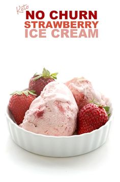 No Churn Strawberry Ice Cream We all scream for keto ice cream! This no-churn strawberry ice cream recipe is an easy way to stay cool this summer. Low carb and sugar-free, it takes only 5 ingredients and 20 minutes to make. Sugar Free Ice Cream, Low Carb Ice Cream, Keto Whipped Cream, Low Carb Sweets, Low Carb Desserts, Diabetic Deserts, Dessert Recipes, Dessert Ideas, Strawberry Ice Cream