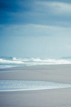 Serene blue beach scene