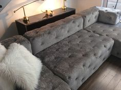 Velvet Tufted Sofa Ottoman Chesterfield Soho Restoration Hardware Bespoke Couch Taylormade