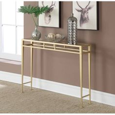 Convenience Concepts Gold Coast Julia Hall Console Table, Gold