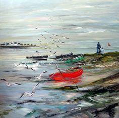 Christian Sanséau expose à l'Atelier De Roeck Watercolor Landscape Paintings, Art Oil, Acrylics, Les Oeuvres, Nautical, Arts And Crafts, Waves, Christian, Silhouette