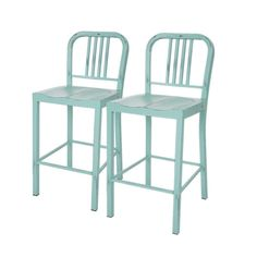 Amazon.com: Glitzhome Vintage mint green Metal Counter Stool (Set of 2): Kitchen & Dining
