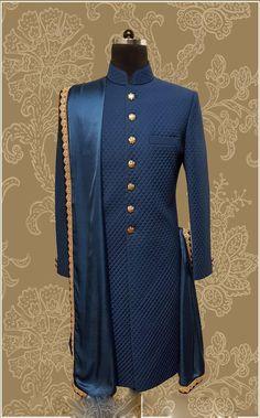 Sherwani For Men Wedding, Wedding Dresses Men Indian, Wedding Outfits For Groom, Sherwani Groom, Wedding Dress Men, Wedding Men, Wedding Blue, Mens Indian Wear, Mens Ethnic Wear