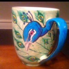 Peacock ceramic painted mug