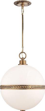Visual Comfort RL5402NB-WG Ralph Lauren Hendricks Large Globe Pendant In Natural Brass With White Glass