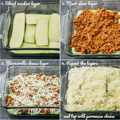 Step by step collage of how to make easy zucchini lasagna showing assembly of lasagna layers including zucchini, meat, and cheese Healthy Recipes, Low Carb Recipes, Beef Recipes, Cooking Recipes, Chicken Recipes, Goulash Recipes, Cheap Recipes, Hamburger Recipes, Spicy Recipes