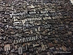 A movable types texture on a metal plate ready to be printed - Fabriano - Marche - Italy