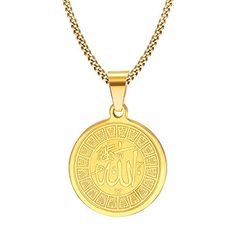 2017 Sale Rushed Stainless Steel Collares Collier Maxi Necklace Allah Necklace Round Shaped Surgical Steel For Prayer Jewelry Gold Pendant Necklace, Men Necklace, Pendant Jewelry, Gold Style, Round Pendant, Stainless Steel Bracelet, Fine Jewelry, Men's Jewelry, Allah