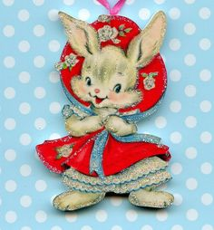 Happy Easter Glitter Ornament Decoration Bunny Rabbit Red dress Vtg Card Img