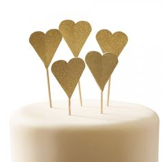 Gold Heart Cupcake Toppers By Ginger Ray