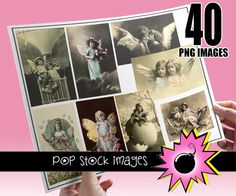 Victorian Antique Photographs of Children - Fairy Kids and Flowers - 40 Vintage Photos of Kids - Perfect for Scrapbooking & Jewelry Making