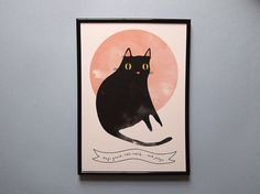 Salem print - Black cat  This print features my original illustration inspired by my favourite TV cat, Salem Saberhagen from Sabrina the Teenage