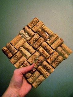 Items similar to Wine Cork Trivet - Hot Plate - Great Holiday Gift on Etsywine cork trivet- how bout people sign these to make a trivet instead of signing a guest book at he wedding? We do have a cork collection . Wine Craft, Wine Cork Crafts, Wine Bottle Crafts, Jar Crafts, Wine Cork Trivet, Wine Cork Art, Diy Cork, Wine Cork Projects, Cork Ornaments