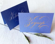 1 Calligraphy Place Card, Sky BlueCard Board, with White or Tangerine Coloured Ink (Folded Card) by Federflug