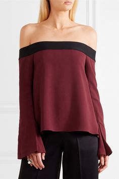 Roland Mouret - Heaney Off-the-shoulder Draped Stretch-crepe Top - Burgundy - UK
