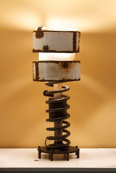 Industrial Lamp Spring Gear by MudsillSculpture on Etsy, $225.00