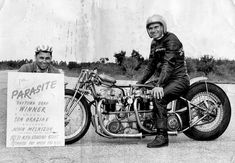 The Legendary Parasite– T110 twin engine dragster built by John Melnizuk Sr. and raced by Tommy Grazias, and later John, who coaxed a top speed of 150 MPH out of the beast. In 1959, The Parasite won Daytona running a 10:42 ET at over 142 mph in the quarter mile, and making the front page of the local newspaper.  –via John Melniczuk, J Enterprises  https://theselvedgeyard.wordpress.com/2012/02/29/the-story-of-the-parasite-jerseys-own-twin-engine-triumph-dragster/