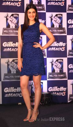 'Heropanti' actress Kriti Sanon looked pretty in a short midnight blue dress at a Gillette event.