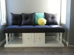 Repurposed coffee table turned into window seat