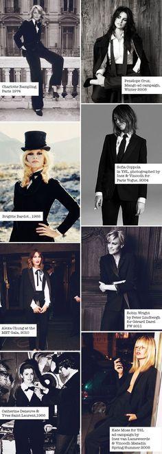 The 2014 Reintroduction of YSL Yves Saint Laurent's Iconic Signature Look Ysl, Girl Tux, Yves Saint Laurent, Saint Yves, Black And White Suit, Le Smoking, Tuxedo Dress, Tuxedo Jacket, I Love My Shoes