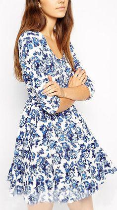 Blue Half Sleeve Floral Print Dress