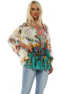 Stylish Port Boutique green beaded tops available online now at Designer Desirables. More summer tops delivered free with free returns Kaftan Style, Beaded Sandals, Going Out Tops, Beaded Top, Summer Tops, Contrast, Kimono Top, Floral Prints, Glamour