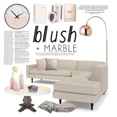 """Blush + Marble"" by helenevlacho ❤ liked on Polyvore featuring interior, interiors, interior design, home, home decor, interior decorating, Cyan Design, CB2, Matthew Williamson and Estée Lauder"