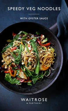 Ready in just 15 minutes, these speedy vegetable noodles are drizzled with oyster sauce and cashews for added crunch. Tap for the full Waitrose & Partners recipe. Fun Easy Recipes, Veggie Recipes, Asian Recipes, New Recipes, Vegetarian Recipes, Cooking Recipes, Healthy Recipes, Chicken Recipes, Waitrose Food