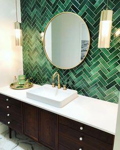 💚🙌🏼Custom imported tile backsplash in beautiful emerald green herringbone. Vanity is a vintage Kipp Stewart walnut credenza… Downstairs Bathroom, Bathroom Renos, Master Bathroom, Bathroom Fixtures, Brass Bathroom, Bathroom Vanities, Beautiful Bathrooms, Modern Bathroom, Small Bathroom