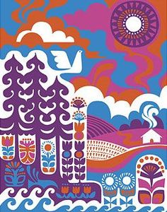 "Marimekko Ihmemaa ""Wonderland"" Textile Art We are sorry but this fabric is sold out and no longer available. Swirling shades of blue, orange, pink and purple conspire on this gorgeous fabric by Sanna Annukka. Marimekko Wallpaper, Marimekko Fabric, 4 Wallpaper, Wallpaper Designs, Aztec Wallpaper, Graphic Wallpaper, Design Textile, Textile Art, Illustrations"