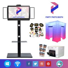 What is included in the kit our Photo Booth: 1- Portable stand. 1- Touchscreen All in One PC 1- Camera 1- Professional Photo Booth Software (Trial Version) 1- Professional lights 1- Professional DNP printer 1- inflatable photo booth tent 1- Props