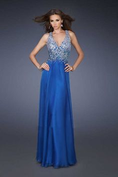 La Femme 2017 18631 V-neck Criss Cross Straps Blue Prom Dresses