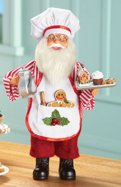 Santa Baking Tabletop Decoration - Santa carries a rolling pin, gingerbread man, silver teapot and a tray holding a gingerbread house, cookie and cupcake. Christmas Kitchen, All Things Christmas, Handmade Christmas, Vintage Christmas, Christmas Holidays, Merry Christmas, Santa Decorations, Santa Figurines, Collections Etc