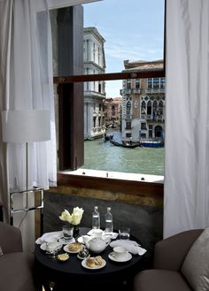 A romantic view of the infamous Grand Canal in Venice from the Aman Canal Grande Venice hotel