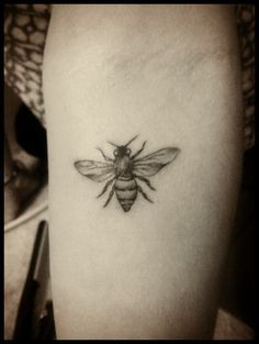 A Very Small Bee Tattoo On Arm