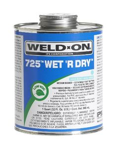 Weld-On 10167 Aqua Blue 725 Medium-Bodied Wet 'R Dry Pvc Professional Industrial-Grade Cement, Extremely Fast-Setting, Low-Voc, 1/2 Pint Can With Applicator Cap, 2015 Amazon Top Rated Contact Cements #BISS