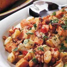 Two Potato Saute With Bacon And Cream Potato Dishes Potato Recipes Beef Recipes
