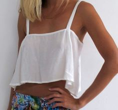 Loose Flowing Crop Top   Beach Top  Ivory by ljcdesignss on Etsy, $29.00