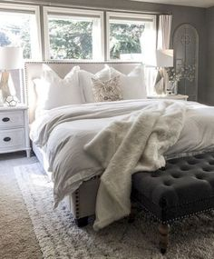 neutral colored master bedroom - neutral colored guest bedroom - grey scale home interior - farmhouse style bedroom - cozy clean and simple bedroom design Master Bedroom Design, Dream Bedroom, Home Decor Bedroom, Modern Bedroom, Bedroom Furniture, Cozy Master Bedroom Ideas, Bedroom Designs, Trendy Bedroom, Master Bedrooms