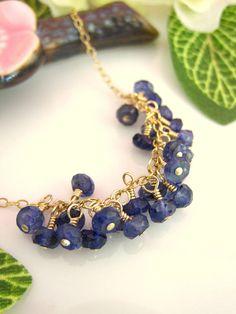 Blue iolite rondelle cluster gold necklace by KBlossoms on Etsy, $75.00