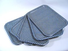 Vintage Gingham 5 Tray Set Blue and White 50's