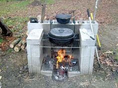 Portable outdoor cinder block fireplace