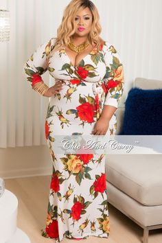 Final Sale Plus Size Floral Short Sleeve, Deep V-Neck Faux Wrap Mermaid Dress in Red, White & Yellow Last One Look Plus Size, Curvy Plus Size, Plus Size Fashion For Women, Plus Size Women, Plus Fashion, Plus Size Bodycon Dresses, Sexy Dresses, Full Figure Fashion, Plus Size Beauty